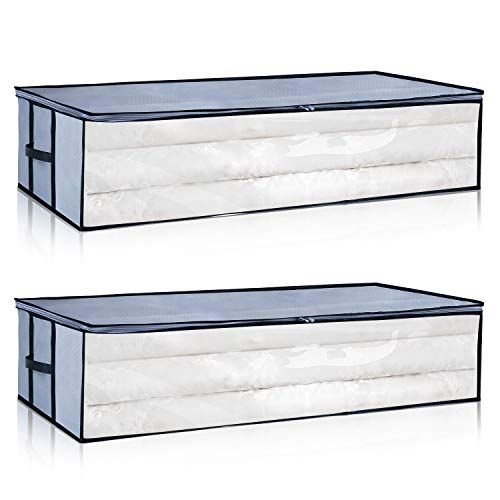 Under Bed Storage Bags [2 Pack] with Reinforced Zippers and Handles, Foldable Clothing Beding Storage Bags Container Organizers, Large Capacity with Clear Window, Gray