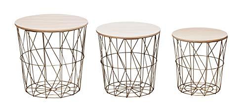 levandeo 3er Set Beistelltisch Metall Metallkorb Drahtkorb Gold Couchtisch Deckel Aufbewahrung Design Deko Tisch