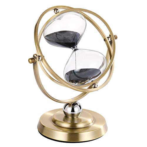 Black Hourglass 30 Minute, 720° Rotating Vintage Metal Sand Timer, Unique 1 Hour Glass Sand Clock for Gifts, Wedding, Home, Desk, Office Deco