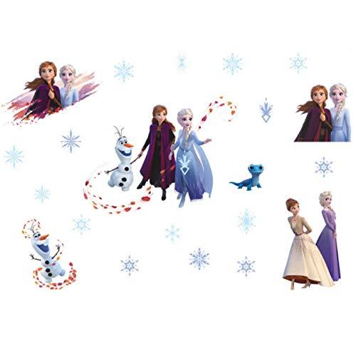 Pegatinas de pared de animación de dibujos animados de Disney Frozen 2 pegatinas de pared de decoración de fondo de habitación de niños pegatinas de pared