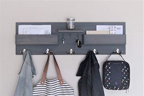 Hallway Coat Rack with Key Hooks Floating Shelf and Mail Pockets Back to School