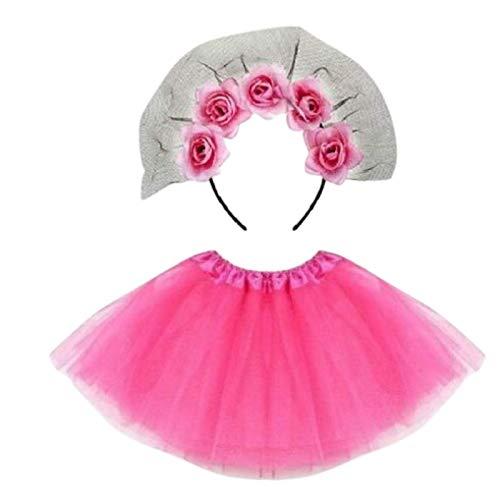 Be-Creative Disfraz de Da de los Muertos, talla para mujer (disfraz completo, diadema con velo de rosas rosas rosas y tut rosado)