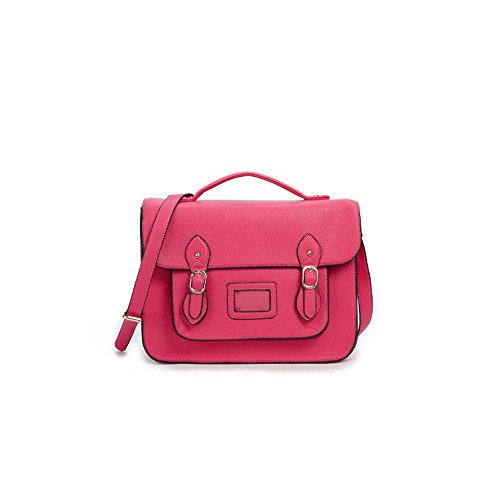 Vintage Large YASMIN BAGS 13.5'' Unisex Faux Leather Satchel/Cross Body Bag - with FREE trolley/locker coin keychain (12345 Rose Pink)