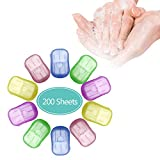 OMG 10 Piezas Papel de jabón portátil desechable,jabón para Viajar,Hojas de jabón de rebanadas con Caja de Almacenamiento,Escamas de jabón de Papel espumoso Lavado al Aire Libre Limpieza