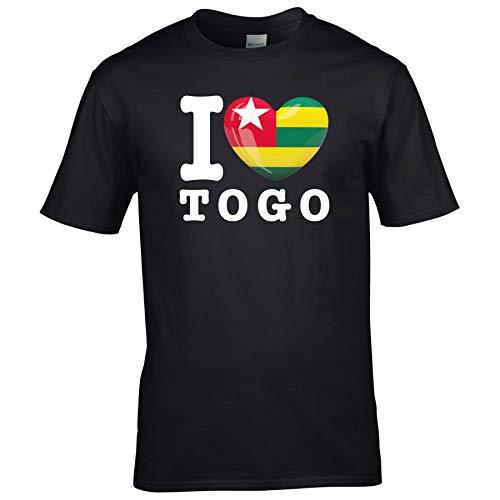 FanShirts4u Herren T-Shirt - I Love Togo - WM Trikot Liebe Herz Heart (L, Schwarz - I Love Togo)