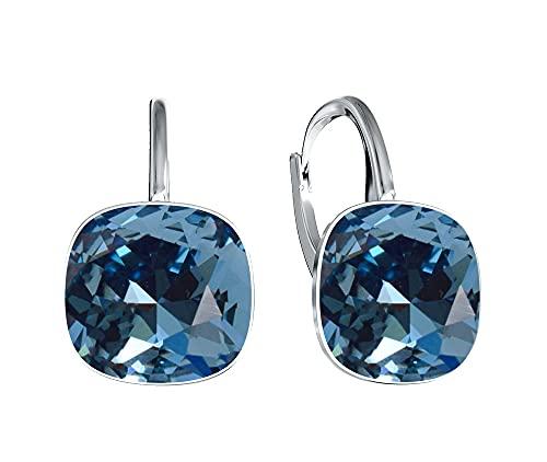 Victoria Kraft – Pendientes cuadrados – Colores variantes – Pendientes de plata 925 con cristales – Juego de joyas para mujer con piedras con caja de regalo, regalo de cumpleaños (Denim Blue)