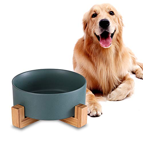 Grün Keramik Hund Futternapf mit Bambus Ständer,Rutschfest Nicht Verschüttet Hundefressnapf und Wassernapf,Extra große Kapazität Haustier Futternapf-1800 ML,Schwerer Hundenapf für Grosse Hunde