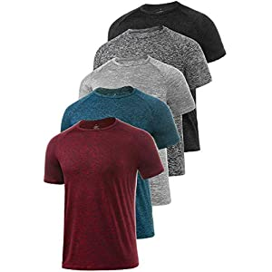 Xelky 4-5 Pack Men's Dry Fit T Shirt Moisture Wicking Athletic Tees Exercise Fitness Activewear Short Sleeves Gym Workout Top