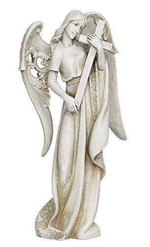 Angel Holding Cross Textured Concrete Look 9 x 18.5 Resin Outdoor Garden Statue