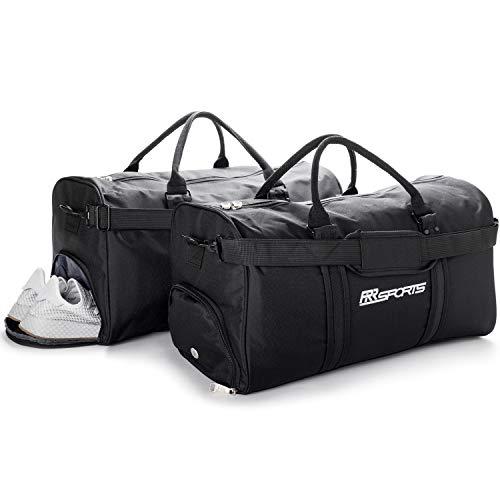 RR Sports - 2er Set Sporttasche mit Schuhfach schwarz für Damen, Herren, Kinder, Sport Trainingstasche für Fitness, Fitnessstudio, Gym und Fußball, Schwarze Fitnesstasche, Frauen, Männer Sporttaschen