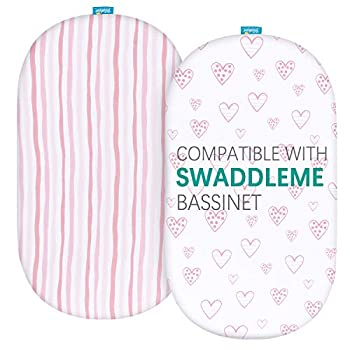 Biloban Bassinet Fitted Sheets Compatible with SwaddleMe by Your Side Sleeper 2 Pack 100% Jersey Knit Cotton Fitted Sheets Breathable and Heavenly Soft,Pink Stripes and Hearts Print for Baby Girl