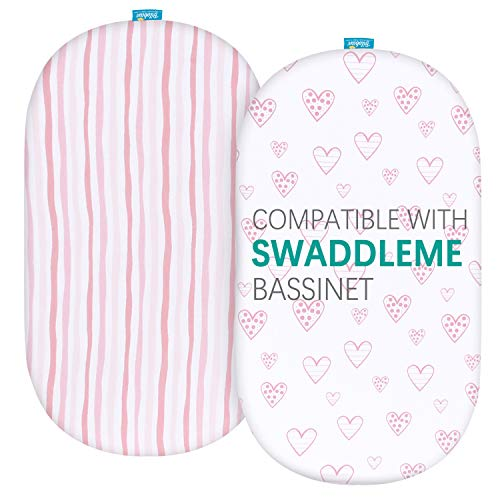 Biloban Bassinet Fitted Sheets Compatible with SwaddleMe by Your Side Sleeper, 2 Pack, 100% Jersey Knit Cotton Fitted Sheets, Breathable and Heavenly Soft,Pink Stripes and Hearts Print for Baby Girl