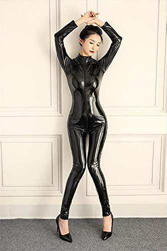 SMGZC Mujer Sexy Aspecto Mojado Patentar Cuero Catsuit Látex Mono Ajustado Brillante PVC Body Playsuit Cremallera Entrepierna Abierta Noche Club Etapa DS Ropa (M,Black)