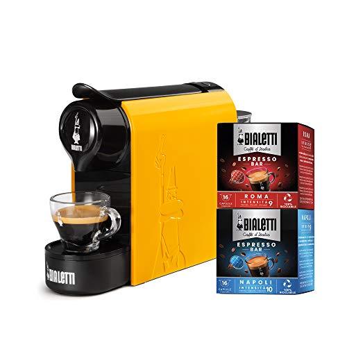Bialetti Gioia, Macchina da Caffè Espresso per Capsule in Alluminio sistema Bialetti il Caffè d'Italia, Supercompatta, Ocra + 32 CAPSULE