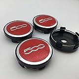 Aieryu 4 Stück Radnabenkappen Nabendeckel für FIAT 500, 3D Emblem Aluminium Felgenkappen Center Caps Aufkleber Radverkleidung...