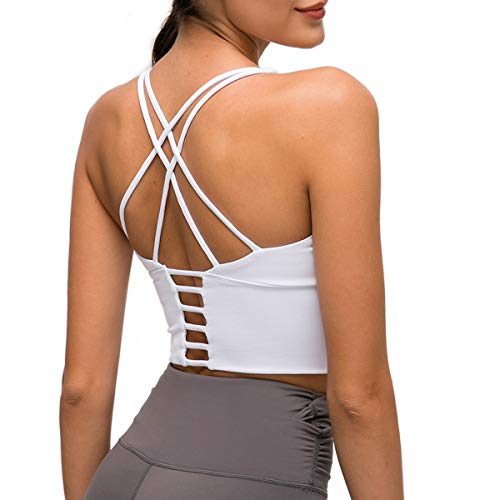 Nanomi Beauty Sujetador Deportivo de Tiras Acolchado para Mujer Workout Running Yoga Tops (Blanco, M)