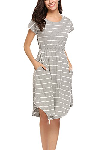 Halife Women's Summer Casual Stripe Elastic Waist Loose Beach Midi Dress Grey,M