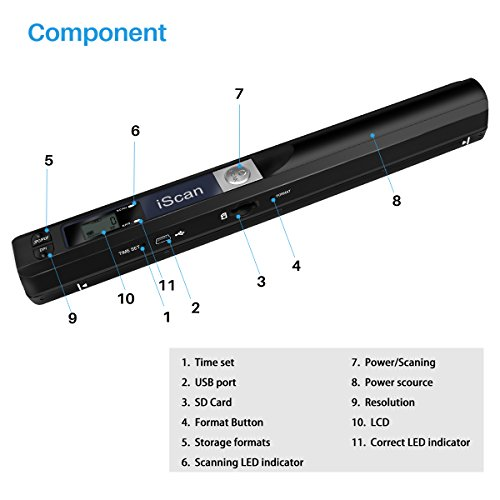 AOZBZ Portable Document Scanner Dokumentenscanner, 900DPI Mobile USB Handscanner A4 Farb Photo Scanner Handy Scan (JPG/PDF-Format, Hochgeschwindigkeits-USB 2,0,Brauchen Micro SD/TF Card aber Nicht Inbegriffen) - 9