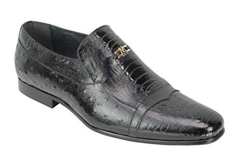 De Cuero Real de los Hombres de Piel de Serpiente de impresión de Recibos Avestruz Boda del Partido de la Novedad Inteligente de Zapatos de Vestir[AV69-153-BLACK-45]