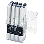 Copic Markers 12-Piece Sketch Set, Cool Gray