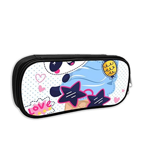 Bolsa de maquillaje con diseño de panda con helado para gafas de sol, bolsa de lápices de tortugas con cremallera, bolsa de pasaporte de gran capacidad para universidad, escuela, escuela media