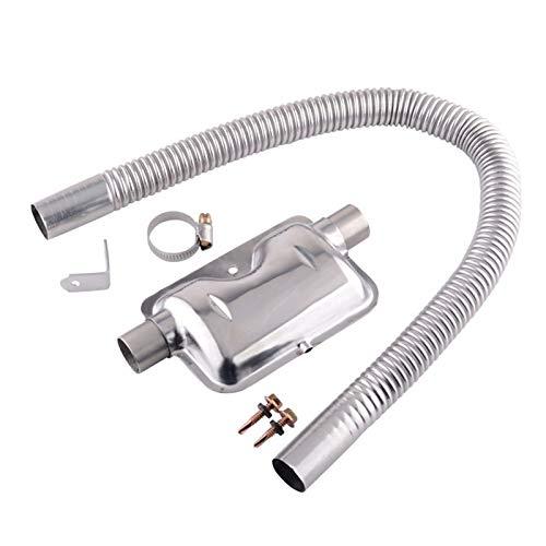 Silenciador de tubo de escape, Plata Tubo de escape Silenciador Silenciador de 24 mm del para calefacción de aire de coche diésel para calefacción de aire de estacionamiento diésel
