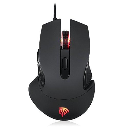 EasySMX Gaming Maus, 16 Millionen Farboptionen RGB 5000DPI PC Gaming Mouse Hohe Präzision mit 5 programmierbaren Tasten/LED/ergonomisches Design/USB-Wired Maus optisch Für Laptop/PC/MacBook/Computer