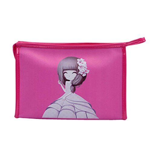 Style de stockage Fleur Filles Cosmetic Containers Fuchsia Cosmetic PU Sacs