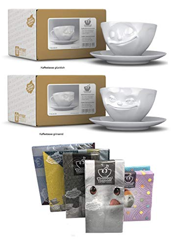 FIFTYEIGHT PRODUCTS Kaffeetassen 2er Set + Servietten, 200 ml, GLÜCKLICH+GRINSEND