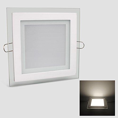 Kefflum LED Panel Eckig Neutralweiß 12W Dimmbar Einbaupanel Glas Deckenlampe Deckenleuchten 1000LM 4200-4500Kelvin