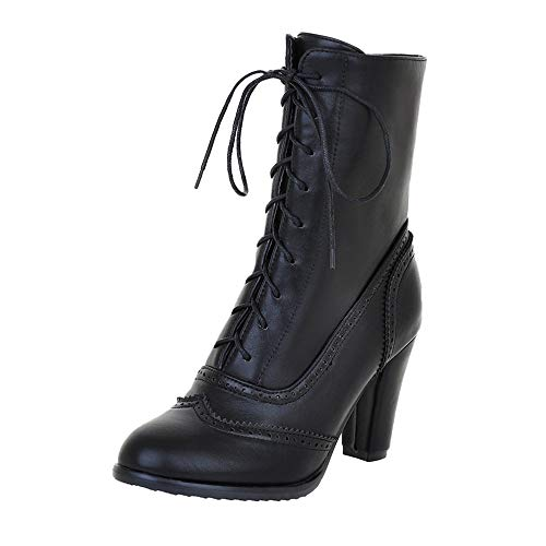 Aniywn Women's Mid-Calf Boots,Women High Heeled Boots Shoes Casual Lace Up Leather Pointed Boots(Black,35)