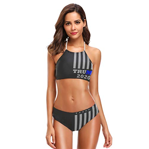 2020 Thin Blue Line Trump Damen Sexy Bikini Badeanzug Set Neckholder Bademode Strandmode -  -  Small