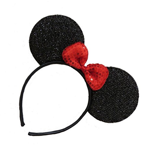 Black Sparkly Glitter Mouse Ears Alice Hair Band Headband Fancy Dress Party Hen
