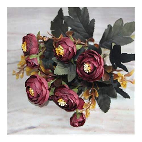 JiaQinHe Restos Flores Artificiales Pintura al óleo Corto 6 Spring Branch/otoño de Seda Rosa de té florero de la Tabla decoración de la Boda Ramo de Flores Nunca (Color : B Coffee)