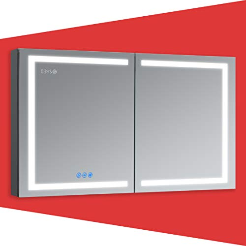 DECADOM LED Mirror Medicine Cabinet Recessed or Surface, Defogger, Dimmer, Clock, Room Temp Display, Makeup Mirror 3X, Outlets & USBs (RUBiNi 48x32)