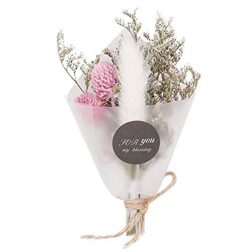 Simlugn Natürliche getrocknete Blume für Dekorationen, Elegantes kleines Blumenstrauß-Blumenstrauß-Innenministerium-Dekor-Geschenk zu den Frauen(weißer Hase)