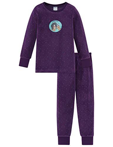 Schiesser Mädchen Ponyhof Md Anzug lang Zweiteiliger Schlafanzug, Blau (Lila 820), (Herstellergröße: 128)