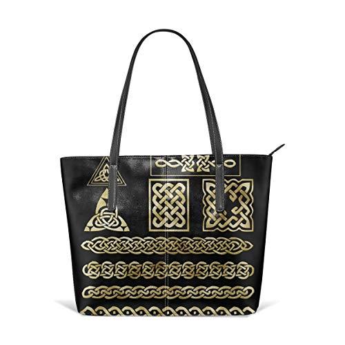 Gorgeous Celtic Knot Symbol Men Women Leather Tote Bags Satchel Top Handle Cross Body Shoulder Hobo Handbags For Ladies Shopping Bag Office Briefcase
