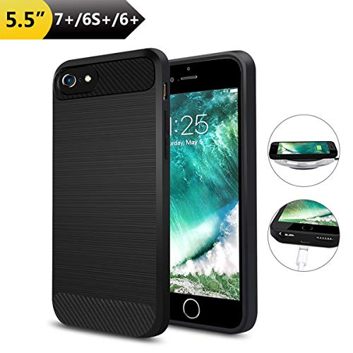Wireless Charging Receiver Case for iPhone 7 Plus  6S Plus 6 Plus(Only for Plus Size iPhone),ANGELIOX Qi Wireless Charging Receiver TPU Protective Phone Cover,Brushed Surface Processed (No Battery)