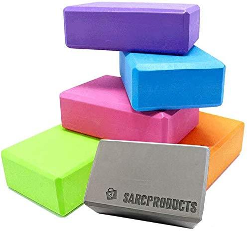 SARC Products Bloque de Yoga (2 uds.), Ladrillo de Yoga, Espuma de Alta Densidad, Estiramientos, de Yoga y Pilates, Corrector de Posturas (Negro)