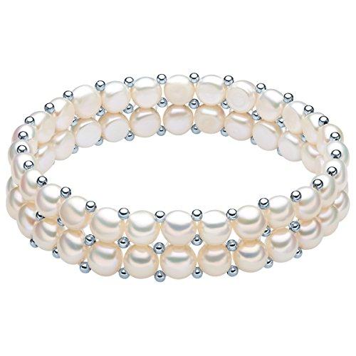 Valero Pearls Armband Süßwasser-Zuchtperlen weiß ca. 6,0-6,5 mm