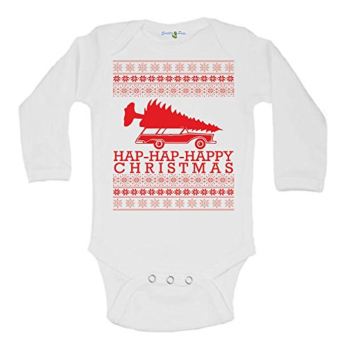 Hap-Hap-Happy Griswald Family Christmas Vacation Ugly Sweater One Piece Baby Romper Suit Long Sleeve (3-6 Months) White