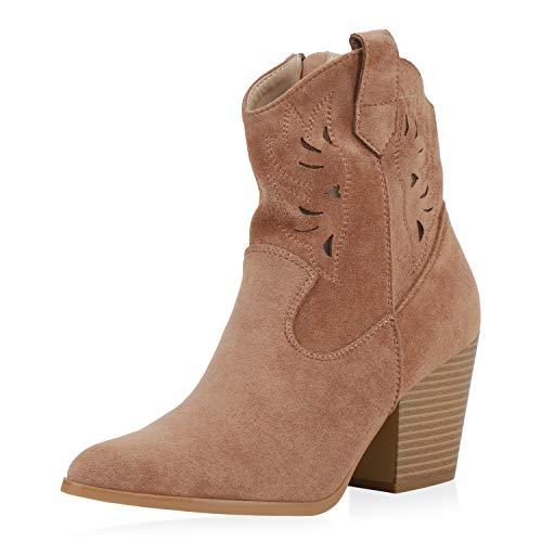 SCARPE VITA Damen Stiefeletten Cowboy Boots Cut Out Western Schuhe Wildleder-Optik High Heel Cowboystiefel Holzoptikabsatz 191633 Schlamm 39