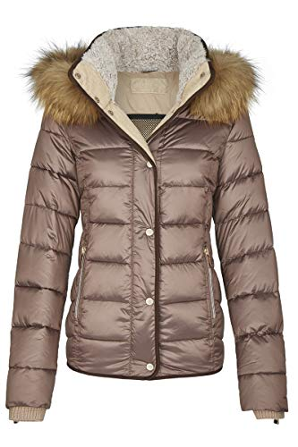 MILESTONE Damen Jacke Steppjacke Winterjacke Goldie mit Kapuze Mikrofaser Teddyfellkragen 3M Thinsulat Wärmeisolierung (42, Kupfer)