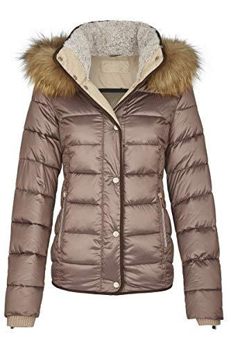 MILESTONE Damen Jacke Steppjacke Winterjacke Goldie mit Kapuze Mikrofaser Teddyfellkragen 3M Thinsulat Wärmeisolierung (40, Kupfer)