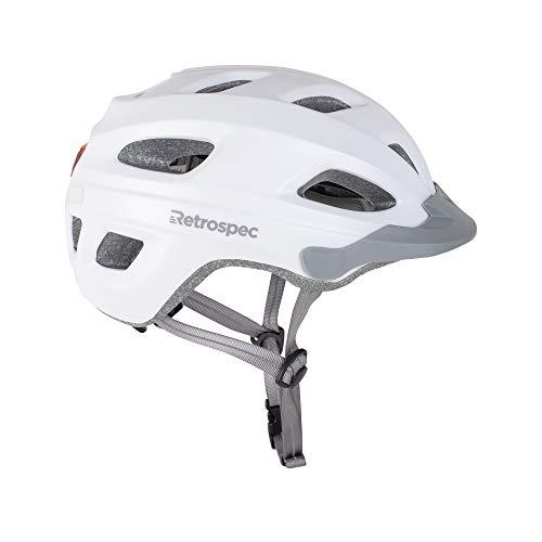 Retrospec cm-4 Bike Helmet with LED Safety Light Adjustable Dial and Removable Visor, Satin White, 54cm-61cm