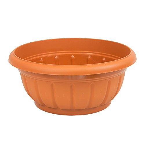 Rond pot de fleur Verona marron en plastique 34 cm de diametre