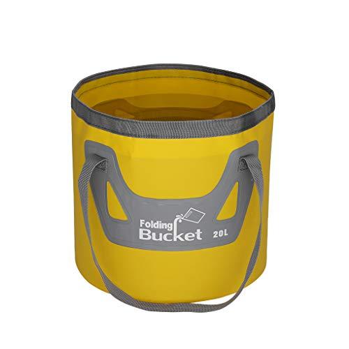 Vokmon Cubo de Agua de PVC de 20 litros de Agua Plegable Recipiente Resistente al Agua de Pescar portátil Barril Pail, Amarillo