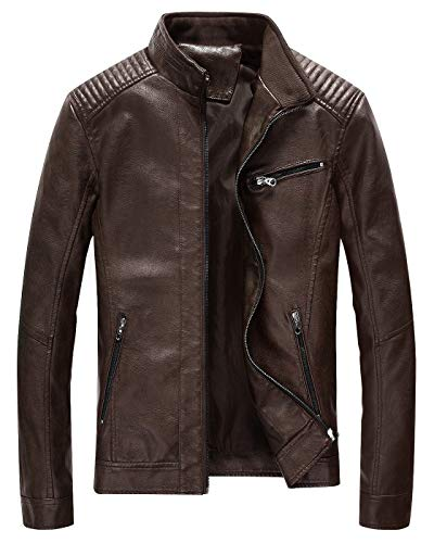 Fairylinks Leather Jacket Men Lightweight Bomber Jackets and Coats, Coffee, Large