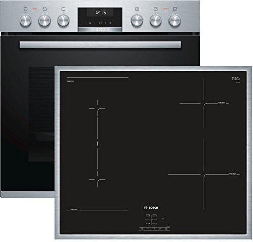 Bosch HND616LS60 Herd-Kochfeld-Kombination (Einbau) / A / 59,4 cm / Edelstahl / Klapptür / LCD-Display / GranitEmail / Induktionskochfeld (herdgesteuert) / 4 Induktions-Kochzonen / Umlaufender Rahmen